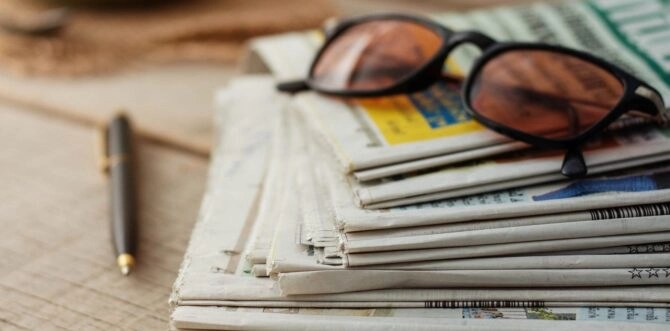 Newspapers on wooden floors