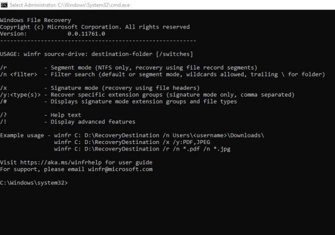 Windows files recovery
