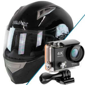 Hawk H-510 Glossy Black Full Face Bluetooth Helmet with Hawk H20 Action Camera