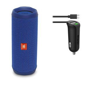 JBL Flip 4 Waterproofs Portable Bluetooth Speaker Car Charger Bundle