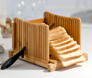 Kenley Bamboo Bread Slicer for Homemade Bread & Loaf Cakes
