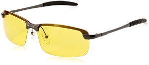 Mens Womens Night Vision View Square Rimless Polarized Glasses Goggles Metal Frame