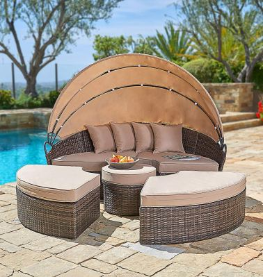SUNCROWN Outdoor Patio Round Daybed 6 Piece Brown Wicker Patio Furniture