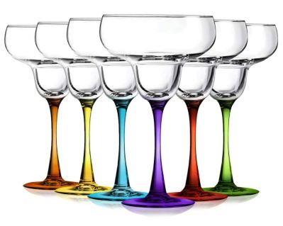 Margarita Glasses Party Set of 6 with Colored Accent