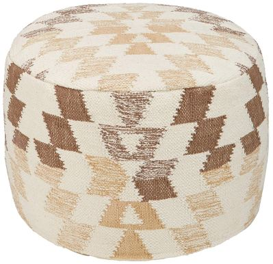 Ashley Furniture Signature Design - Abraham Pouf - Handmade - Imported - Traditional - White and Brown