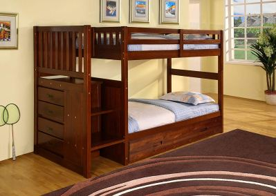 Discovery World Furniture Staircase Bunk Bed with Trundle