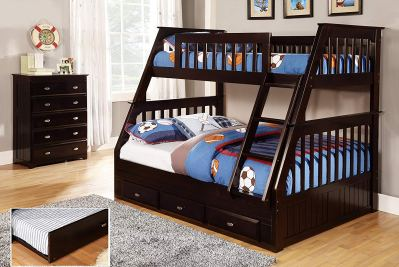 Discovery World Furniture Twin Over Full Bunk Bed with Twin Trundle