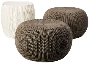 Keter Urban Knit Pouf Ottoman Set of 2 with Accent Table for Patio Decor