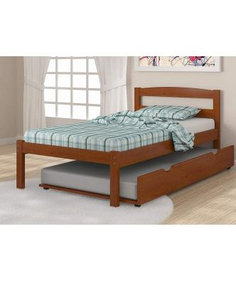 Solid Wood Espresso Twin Bed with Trundle