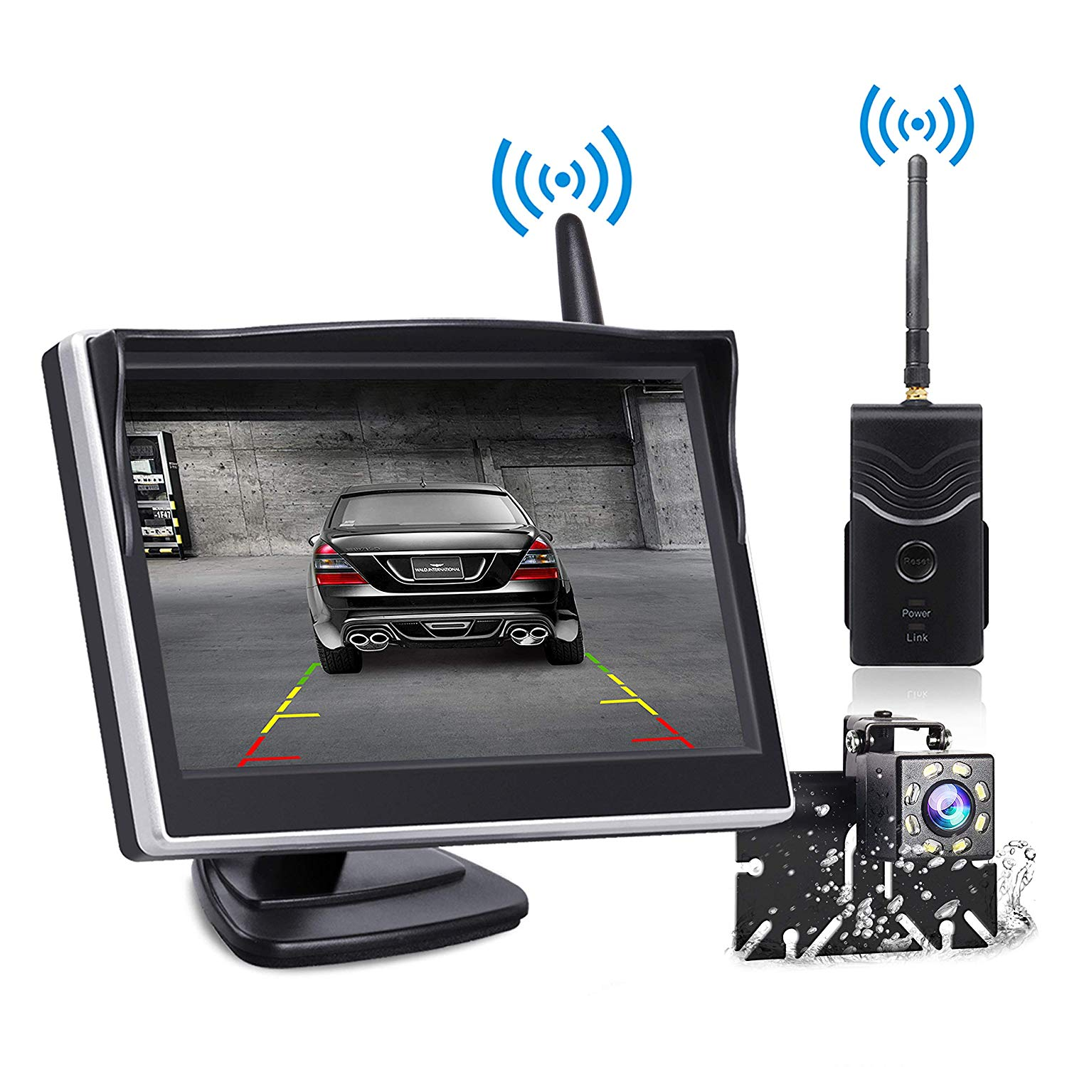 Yakry Ya25e Hd 1080p Digital Wireless Dual Backup Camera Hitch Rear View Camera For Cars Trailers Trucks Rvs 5th Wheels 5monitor With Highway Monitoring System Ip69k Waterproof Super Night Vision Electronics Car Electronics