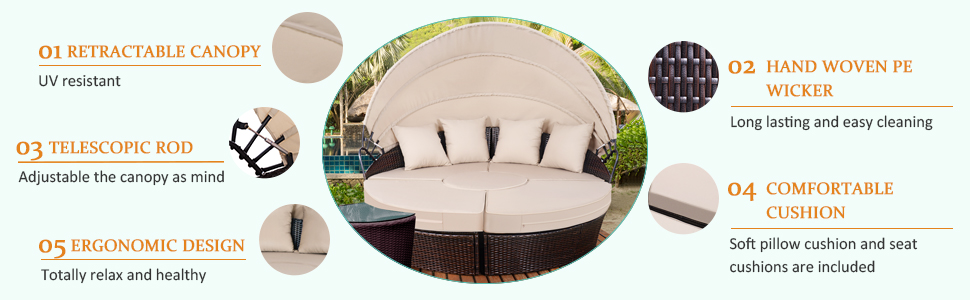 Tangkula Outdoor Daybeds