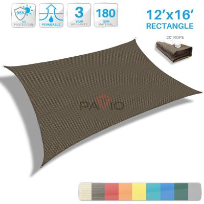 Patio Paradise Brown Sun Shade Sail Rectangle Canopy