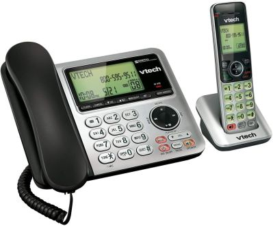 VTech CS6649 Expandable Corded-Cordless Phone System with Answering System-Caller ID