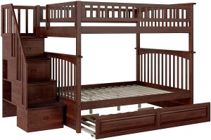 Atlantic Furniture Columbia Staircase Bunk Twin Size Raised Panel Trundle Bed Walnut