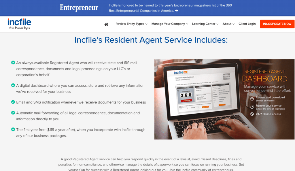 Incfile registered agent services
