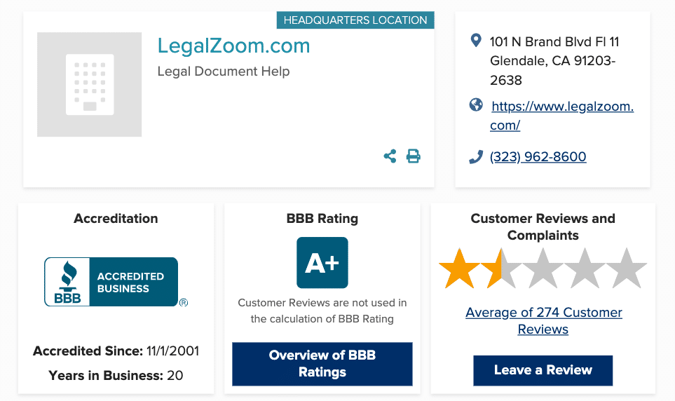 LegalZoom BBB Rating and Reviews