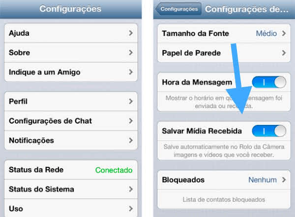 salvamentos de imagens whatsapp