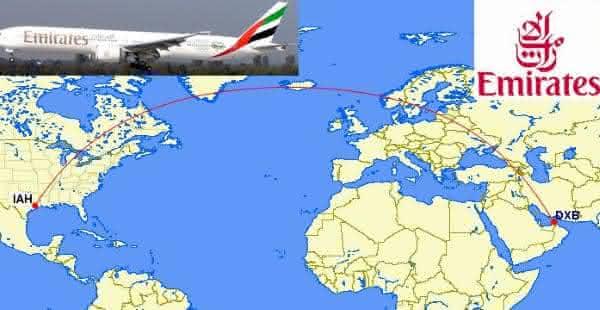 Dubai-DXB Houston-IAH entre os voos mais longos do mundo