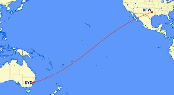 syd a dfw entre os vôos mais longos do mundo
