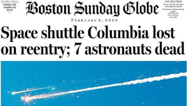 Explosao do onibus Espacial Columbia entre os acidentes mais caros da historia