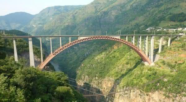Ponte Ferroviaria do Rio Beipanjiang entre as pontes mais altas do mundo
