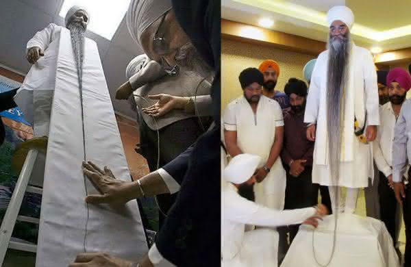 Sarwan Singh entre as barbas mais longas do mundo