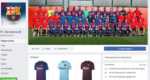 barcelona entre as paginas mais populares do facebook