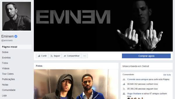 eminem entre as maiores paginas do facebook