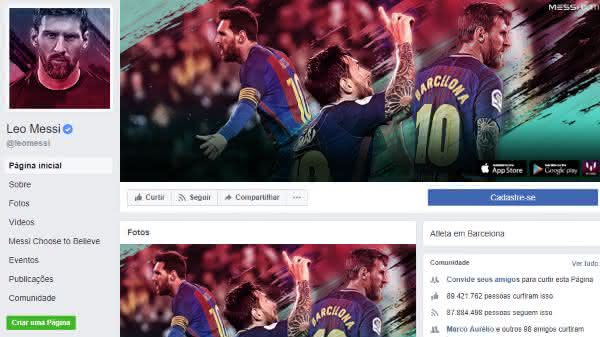 messi entre as maiores paginas do facebook