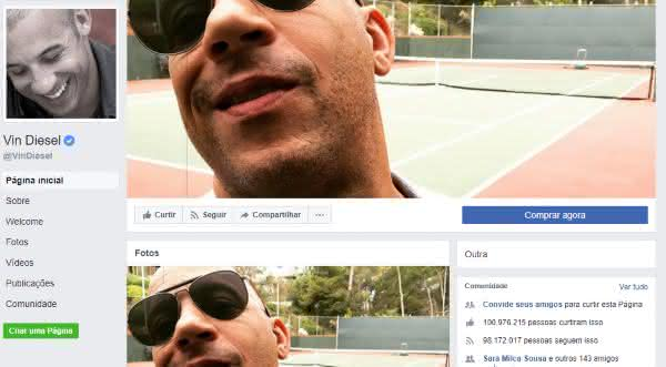 vin diesel entre as maiores paginas do facebook