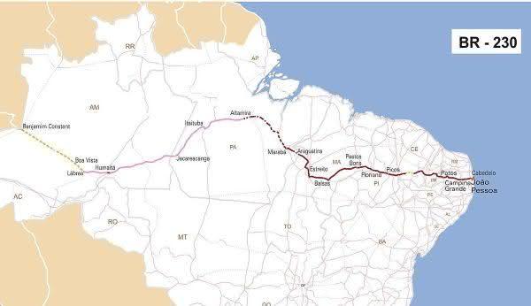 BR-230 entre as rodovias mais longas do brasil