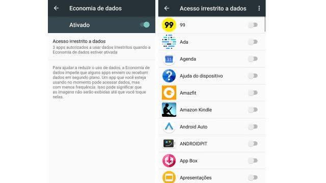 economia de dados android