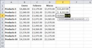 6 Suma de filas en Microsoft Exel