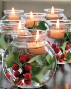 Centro de mesa con frutas y velas
