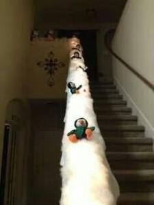 nieve en las escaleras