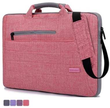 Brinch-Multi-functional-Suit-Fabric-Portable-Laptop-Carrying-Bag-for-15-15.6-Inch-Laptop--Tablet--Macbook-Notebook---Light-Pink