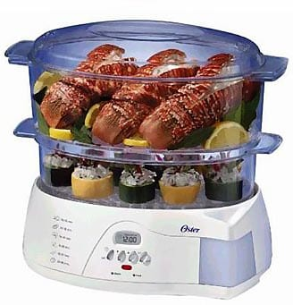 Oster-5712-Electronic-2-Tier-6.1-Quart-Food-Steamer,-White