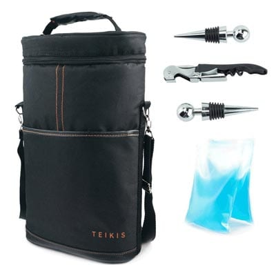 TeiKis-2-Bottles-Wine-Travel-Bag---Included-Bottle-Opener-Corkscrew-&-Bottle-Opener-&-Foil-Cutter-All-In-One--Wine-champagne-Cooler-Insulated-Bag---Wine-Traveler