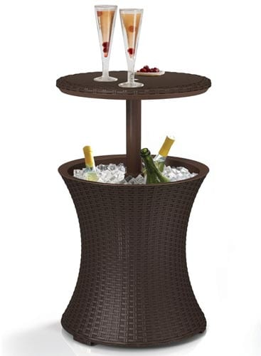 Keter-Rattan-Outdoor-Patio-Deck-Pool-Cool-Bar-Ice-Cooler-Table-Furniture,-Brown