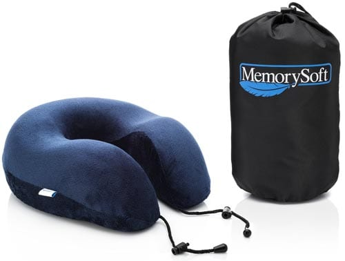 Luxury-Travel-Neck-Pillow-by-MemorySoft---Extremely-Soft-and-Comfy-Memory-Foam-Neck-Pillow---Includes-a-Handy-Travel-Bag