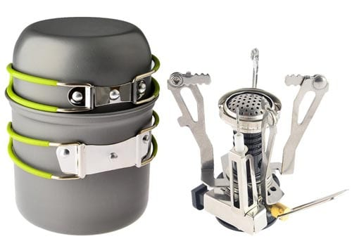 Camp-Stove,Petforu-Outdoor-Camping-Stove-Cookware-Hiking-Backpacking-Picnic-Cookware-Cooking-Tool-Set-Pot-Pan-+-Piezo-Ignition-Canister-Stove-Propane-Canister