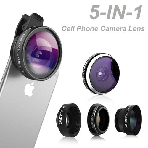 Phone-Camera-Lens,-Comsun-5-in-1-Universal-Clip-on-Cell-Phone-Camera-Lens-Kit