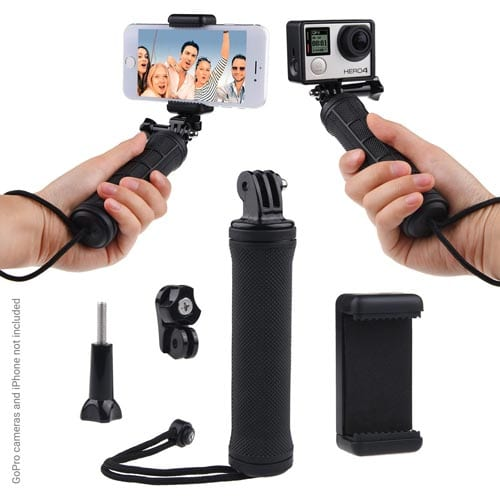 Stabilizing-Hand-Grip-for-GoPro-HERO4,-Session,-Black,-Silver,-Hero+-LCD,-3+,-3,-2,-1-and-most-Compact-Cameras-&-Smartphones---Tripod-Adapter,-Universal-Phone-Holder---Steady-Shot-Photography,-Selfies