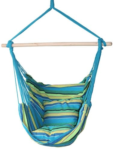 SueSport-Hanging-Hammock-Chair-With-Two-Cushions,-Green