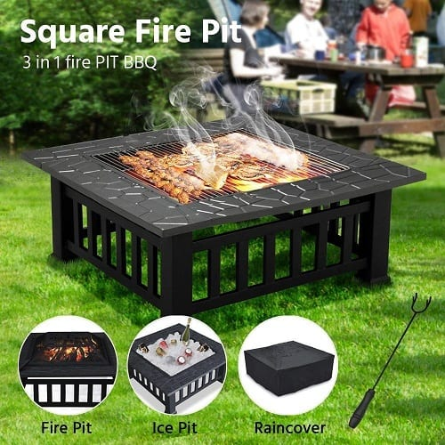 iKayaa Fire Pit with BBQ Grill Shelf Metal Garden Fireplace Patio Firepit Stove Brazier Outdoor Fireplace BBQ Grill Waterproof Cover /& Poker