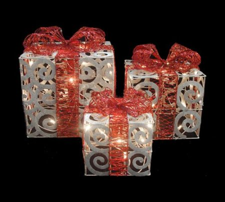10.Alger Sparkling White Swirl Boxes Lighted Christmas Yard Decorations