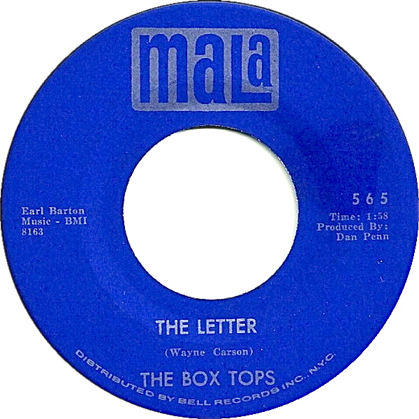 The Box Tops - The Letter 7-inch label