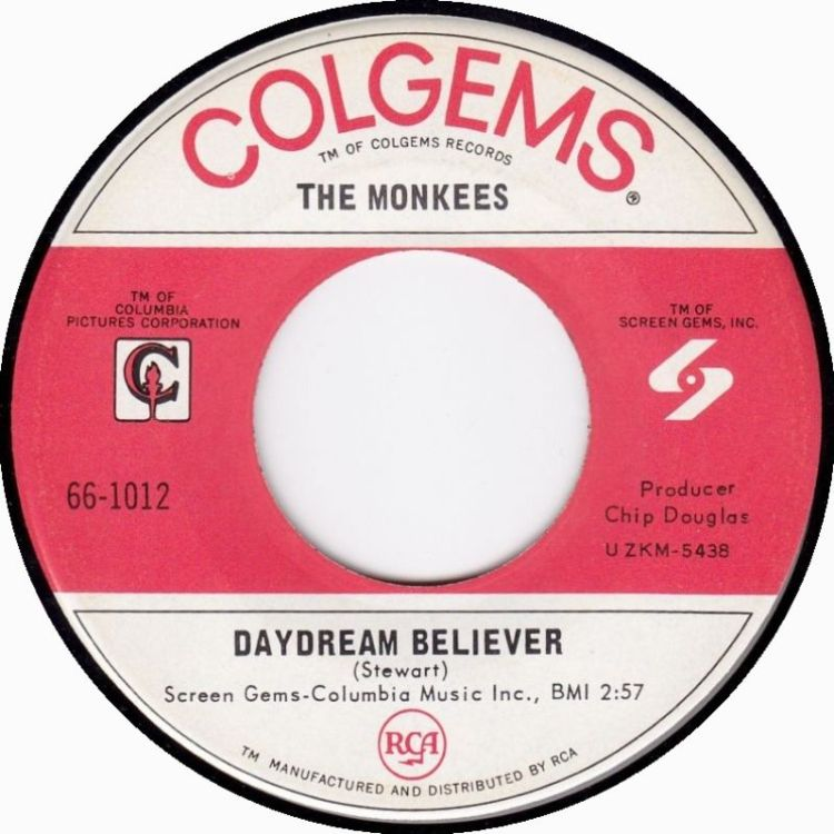 The Monkees - Daydream Believer 7-inch label