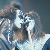 Gene Simmons and Ace Frehley of KISS performing live in New Haven during the Alive II Tour 1978