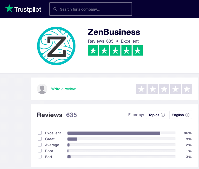 ZenBusiness Trustpilot Reviews 2019